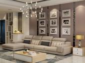 纳德威 北欧宜家布艺沙发组合大户型繁复 靠枕可调理客堂家具卡其色1+3+右贵妃