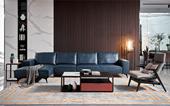 A015#瑞德家居 风气系列  意式极简气概   纳帕真皮右转角沙发(1+3+右贵妃)