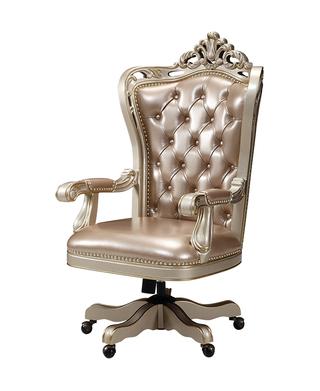 689#瑞德家居  美式轻奢气概 卡斯楠木   皮艺扭转书椅