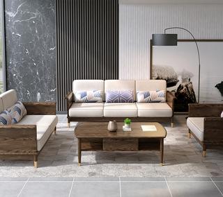 B811#瑞德家居  北欧乡村风格 白蜡木框架 布艺沙发套装(1+2+3)