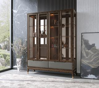 B802#瑞德家居  北欧乡村风格 白蜡木框架  四门酒柜