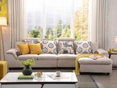 纳德威 布艺沙发组合大户型繁复靠枕可起落功效客堂家具米黄色 沙发组合(1+3+左贵妃)