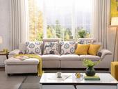 纳德威 布艺沙发组合大户型繁复靠枕可起落功效客堂家具米黄色 沙发组合(1+3+右贵妃)
