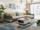 纳德威 实木框架 古代转角布艺沙发可调理头枕功效草绿配米色(2+2+单元)随便组合贵妃可摆布互摆