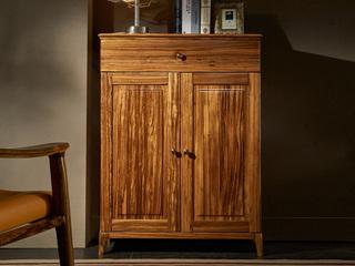 简乌金系列 乌金木(面板,侧板、背板、抽面、底框、脚)+柜桶松木(抽屉)+铜制拉手鞋柜