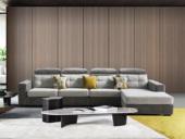 法莱顿 高端大气 时髦温馨 三防植绒布亲肤透气 古代布艺沙发组合(1+3+左贵妃)