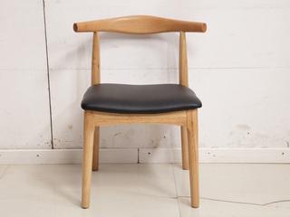 北欧气概 原木色 餐椅 实木 软包 牛角椅