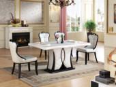 磐匠 广西白大理石 自然亚洲硬木 T型承重 欧式气概餐桌