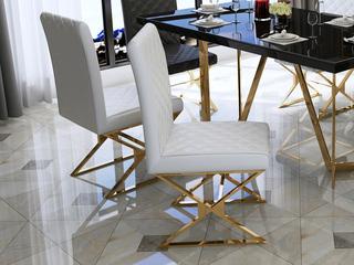 轻奢 白不锈钢镀金 PU皮C02/X餐椅