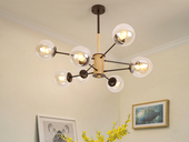 领秀照明 北欧气概 玄色铁架+木头+玻璃罩 2243-6干邑色吊灯(含E27矮泡5W白光)图为8头 现实6头