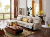 芝华仕 甲等舱 真皮古代繁复沙发客堂牛皮电动多功效组合椅束装象牙白转角沙发(电动可躺)(此款不含抱枕)