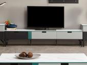 纳德威 极简气概 烟熏木皮搭配卡拉白 电视柜