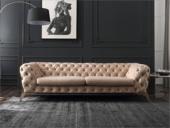 卡伦斯特 轻奢气概 不锈钢镀钛金 优良科技布 三人位沙发