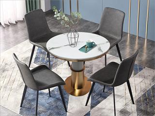 轻奢气概 大理石 不锈钢电镀钛金拉丝 铁柱 0.7m大理石洽商桌