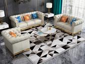 卡伦斯特 轻奢气概 高级棉夏布 不锈钢拉丝封釉镀钛金 组合沙发(1+2+3)(抱枕随机发货)