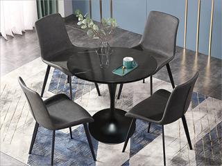 轻奢气概 大理石 黑砂铁柱0.8m大理石洽商桌