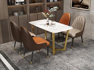 轻奢气概 自然大理石面 镀金框架 1.6m餐桌