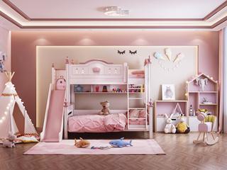 简美气概 优良橡胶木 环保漆 绿色天然 坚忍耐用 芳华粉白 1.5m双层儿童床(含滑梯)