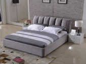 玛蒂芙 古代繁复 韩国绒 实木框架 加固排骨架 九孔纤维绵 灰色床 1.8*2.0米床