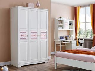 简美气概 泰国入口橡胶木 浅粉+红色三门衣柜