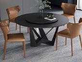 菲格 极简气概 高颜值手艺岩板桌面 碳素钢框架(磨砂烤漆工艺)1.2米圆餐桌