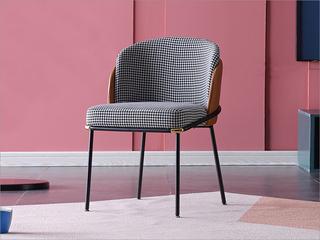 极简气概 金属铁脚  西皮 千鸟格布面料 餐椅(1把价钱,2把起售,不但卖)