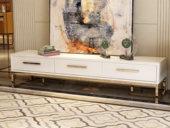 梵克美家 轻奢气概 镀金不锈钢 细致滑腻台面 文雅白 2.0m电视柜