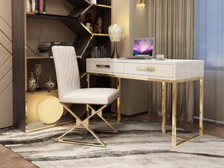 轻奢气概 镀金不锈钢 细致滑腻台面 文雅白 1.2m书桌