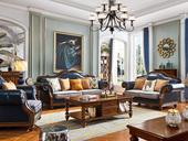 维格兰 简美气概 入口橡胶木 坚忍无形 金丝柚木色 色彩靓丽 美式皮布连系沙发套装(1+2+3)