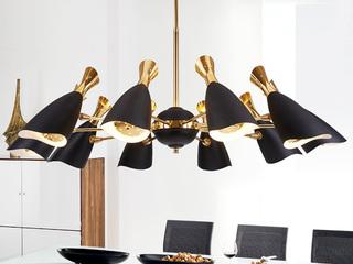 后古代 铝材烤漆 多层电镀工艺 精工铁艺灯臂 羽觞创意吊灯 黑+金 10头 (含G9暖光5W)