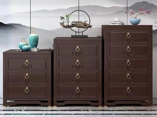 新中式气概 紫檀色 复旧抽屉 橡胶木四斗柜