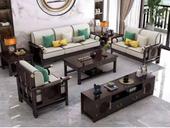 华韵  新中式  客堂 家用  高回弹海绵  棉夏布 松木架 沙发橡木实木脚  单人位