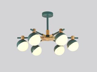 【包邮 偏僻地域除外】 轻奢气概 绿色吊灯6头82cm 自在调理亮度高度 客堂寝室餐厅灯具(含光源)