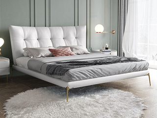 轻奢 全实木内架 白鹅羽绒 羽毛白 温馨柔嫩1.8米科技布床(搭配10公分松木筏骨架)