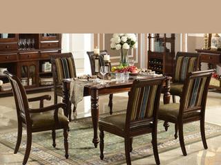 进口桦木实木油蜡皮 实木皮布艺餐椅 美式乡村风格 有扶手椅