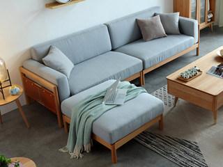 北欧风格 榉木坚固框架 棉麻布艺 原木色 沙发组合(四人位+脚踏)