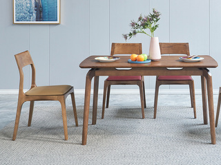 北欧风格 北美进口白蜡木 黄色座包 皮艺餐椅