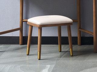 北欧风格 北美进口白蜡木 优质超纤皮 优质五金脚 软包妆凳