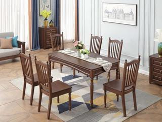 美式风格 泰国进口橡胶木 浅咖色 长餐桌