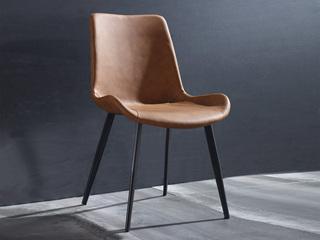 斐亚家居 极简风格 PU皮 碳素钢脚 橙色 餐椅