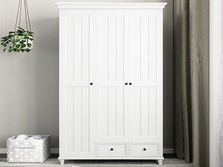 简美风格 泰国进口橡胶木 全实木 象牙白三门衣柜