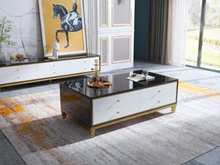 轻奢风格 钢化玻璃台面 黑白色 1.2米茶几