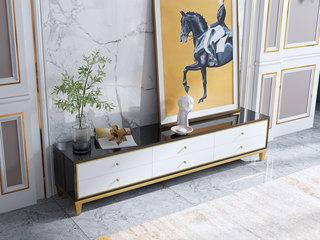 轻奢风格 钢化玻璃台面 黑白色 2.0米电视柜