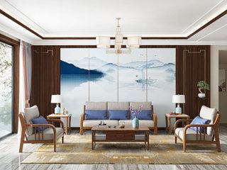 中式风格 泰国进口橡胶木 胡桃色9006 沙发组合(1+1+3)