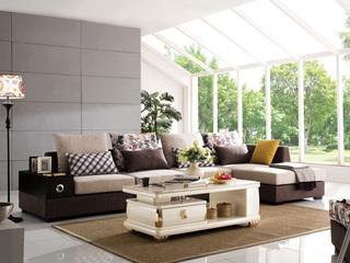 【】现代简约可拆洗布艺沙发组合客厅小户型转角左贵妃L型沙发套装(1+3+左贵妃)