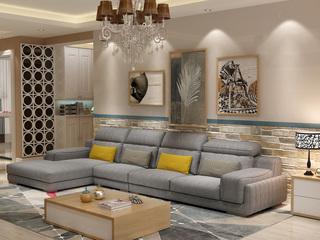 北欧宜家布艺沙发组合小户型简约 靠枕可调节客厅家具浅灰色1+3+右贵妃