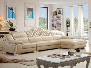 现代风格 皮沙发 功能性头枕靠包可拆洗时尚转角沙发1+3+左贵妃