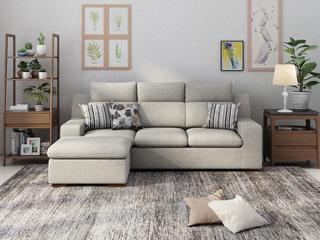 现代风格 小户挚爱 时尚舒适转角沙发浅灰色 3+脚踏