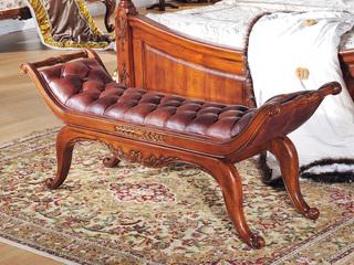 进口桃花芯木 头层牛皮 美式风格 实木床尾凳 真皮床尾凳 换鞋凳