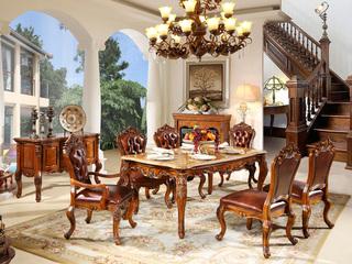 进口桃花芯木 天然雨林啡大理石 易清洁 奢华美式风格 实木餐桌长餐桌 餐厅1.6米餐台